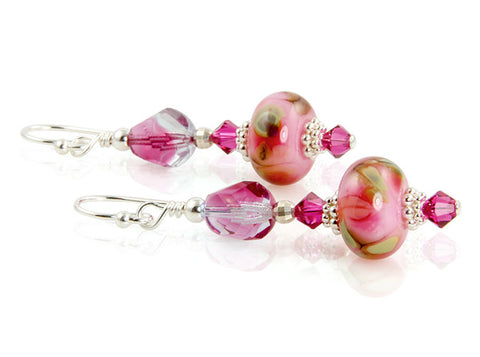 Fuchsia Pink Floral Lampwork Earrings - SWCreations