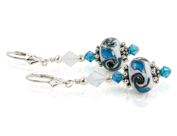 Blue Oasis Lampwork Bead Earrings - SWCreations