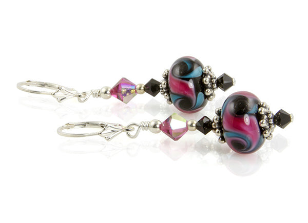 Pink Cosmic Swirls Lampwork Earrings - SWCreations