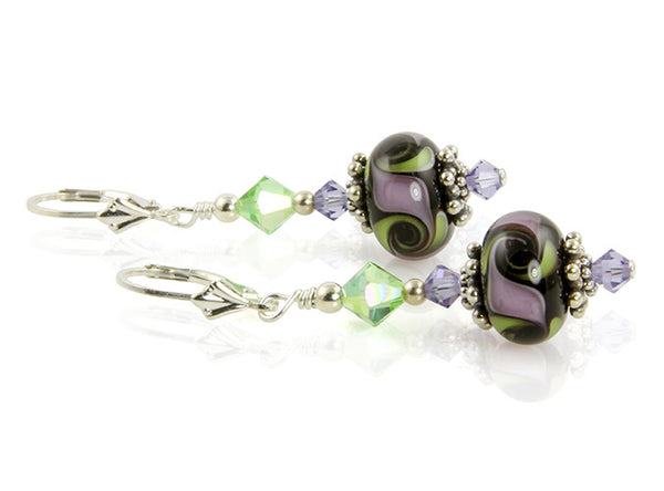 Green Cosmic Swirl Lampwork Earrings - SWCreations