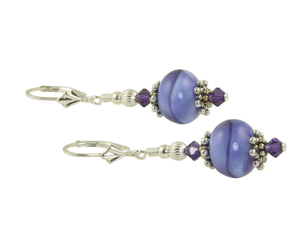 Tanzanite Purple Swirls Lampwork Earrings