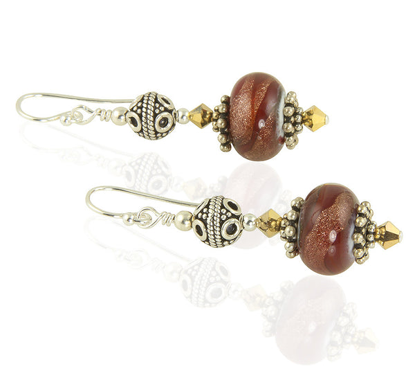 Sangria Red Gold Lampwork Bead Earrings