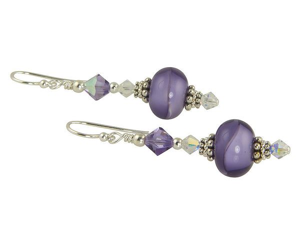 Purple Tanzanite Swirl Lampwork Earrings