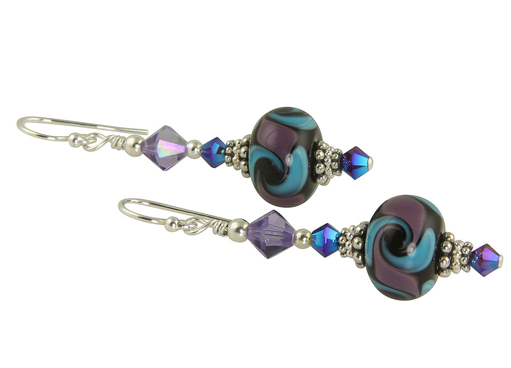 Purple Aqua Cosmic Swirls Lampwork Earrings