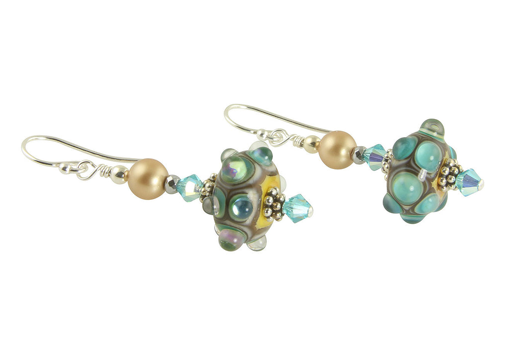 Turquoise Jewels Lampwork Bead Earrings