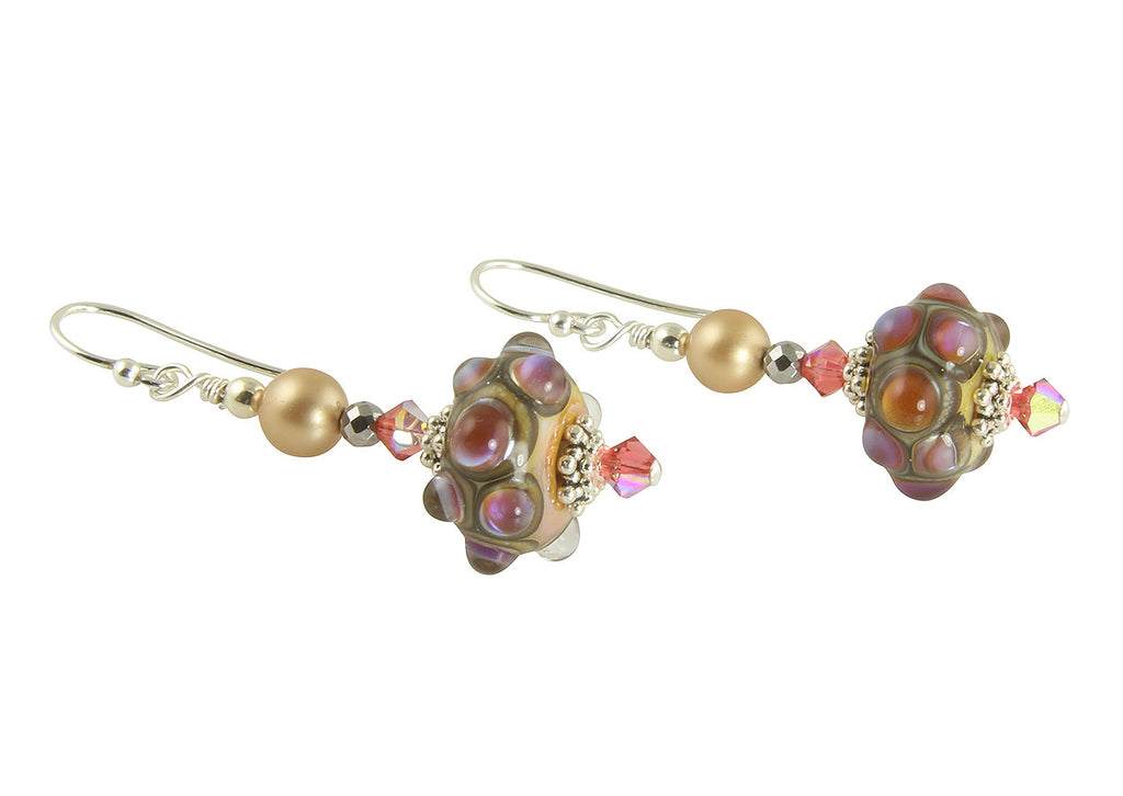 Pink Jewel Lampwork Bead Earrings