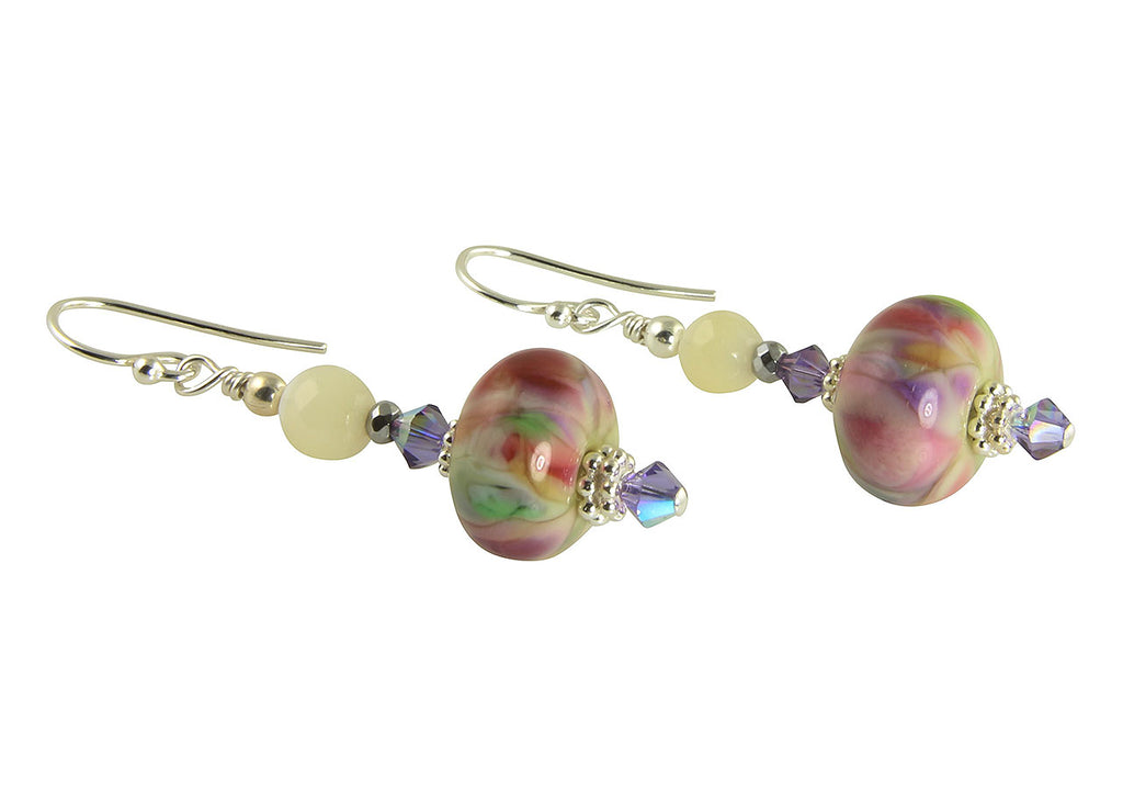 Floral Confetti Lampwork Bead Earrings