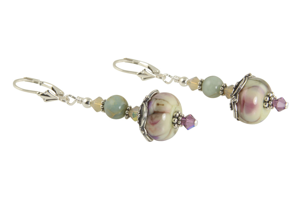 Lavender Marble Lampwork Bead Earrings