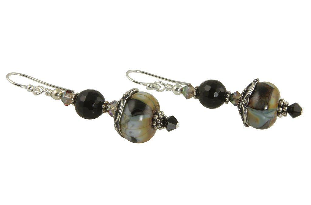 Black Calico Lampwork Bead Earrings