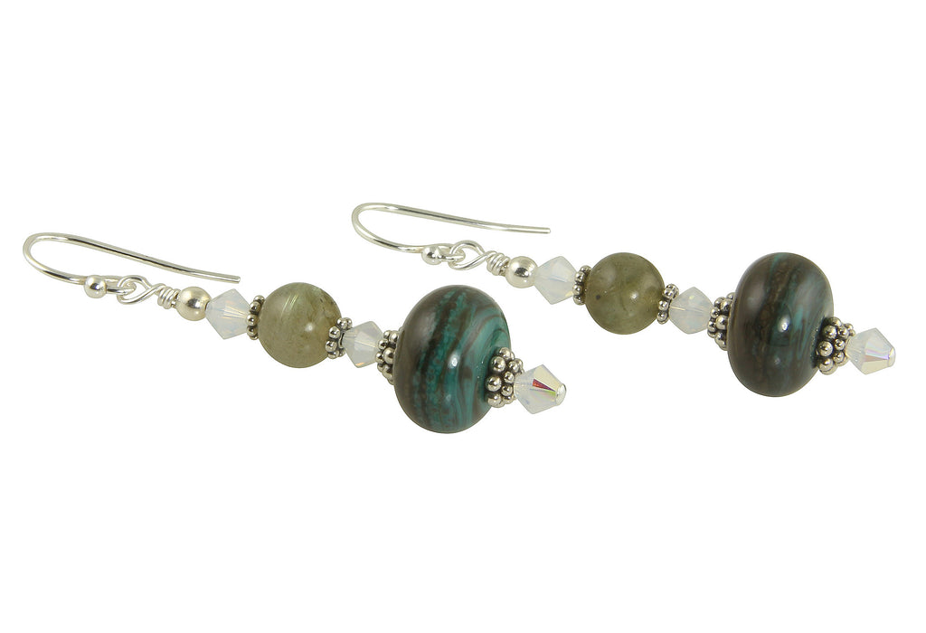 Verde Gray Lampwork Bead Earrings