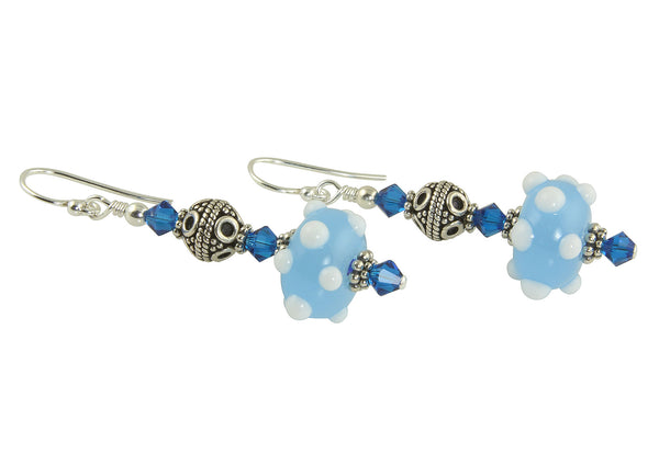 Cobalt Blue Lampwork Bead Earrings