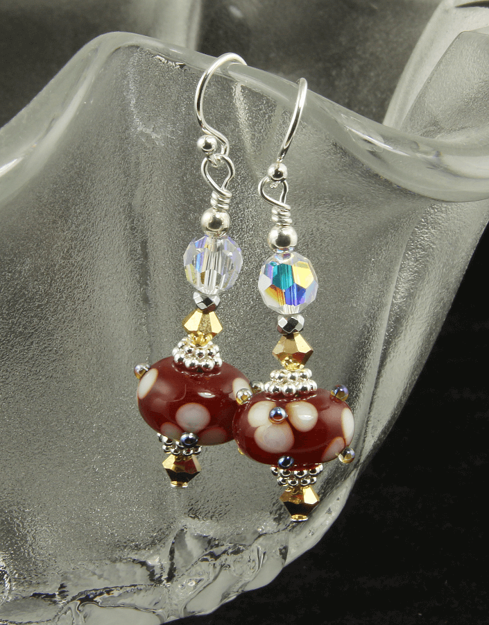 Golden Red Floral Lampwork Earrings