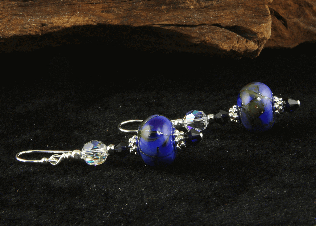 Cosmic Silver Blue Lampwork Earrings
