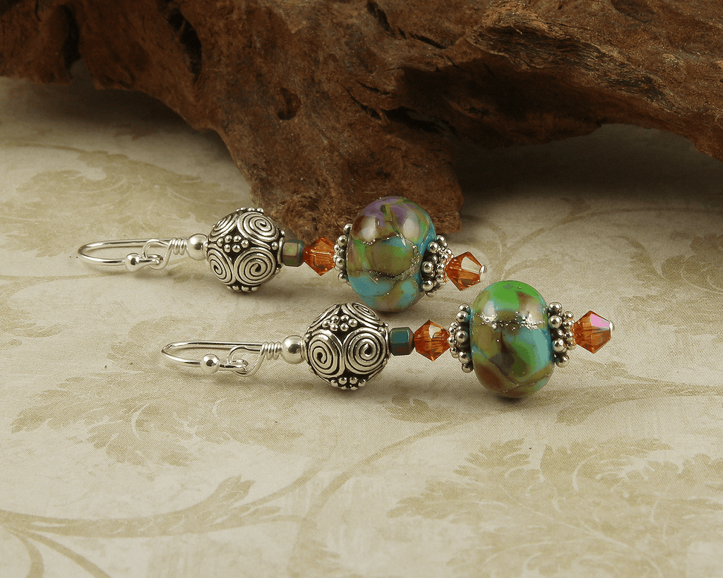 Southwest Turquoise Lampwork Earrings