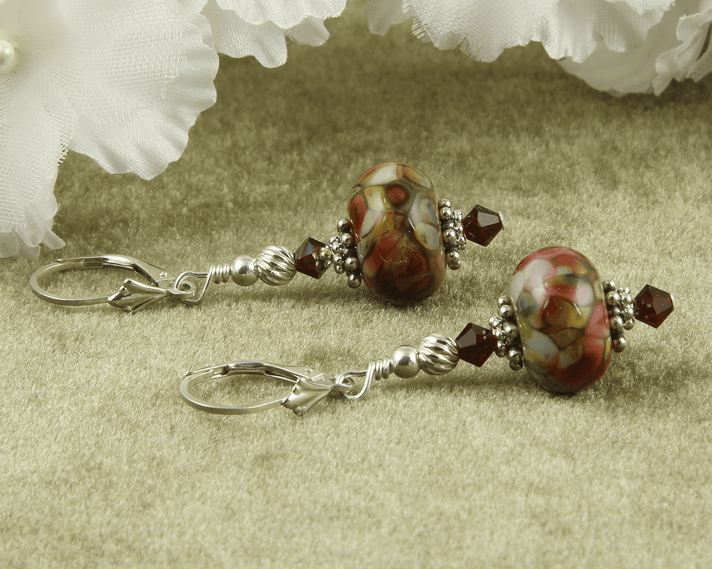 Tiffany Style Ruby Lampwork Earrings