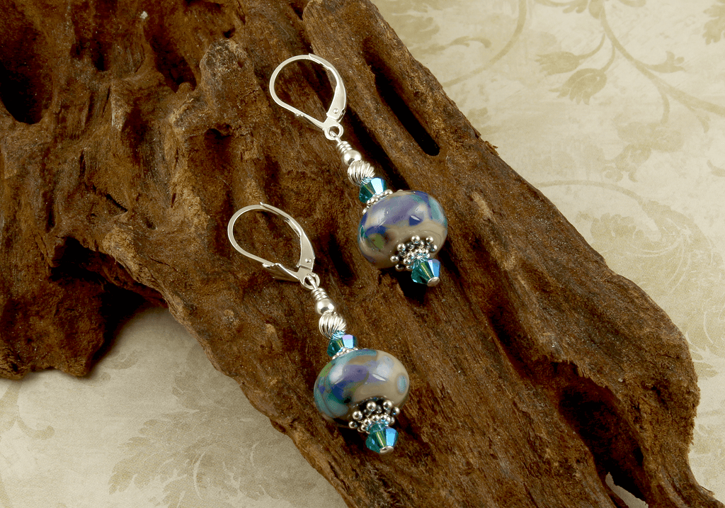 Blue Watercolor Lampwork Earrings