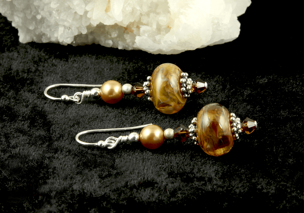 Golden Wonder Lampwork Bead Earrings