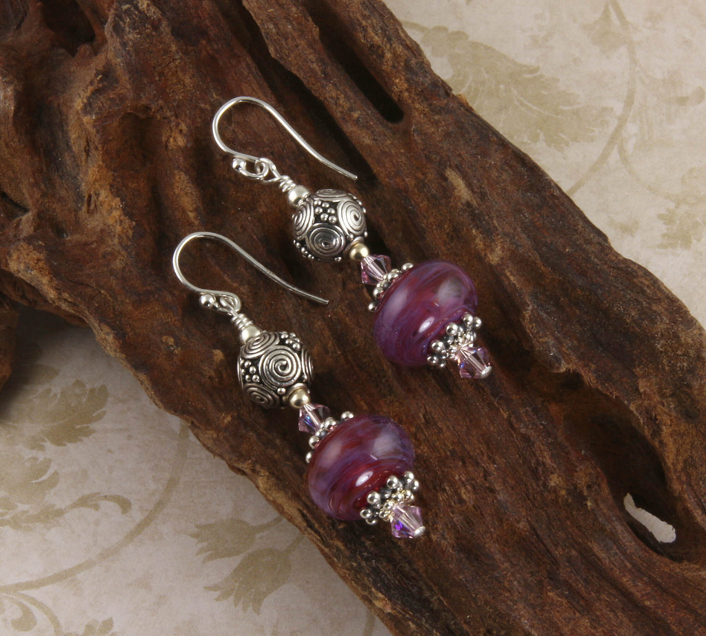 Handmade Violet Swirls Lampwork Earrings
