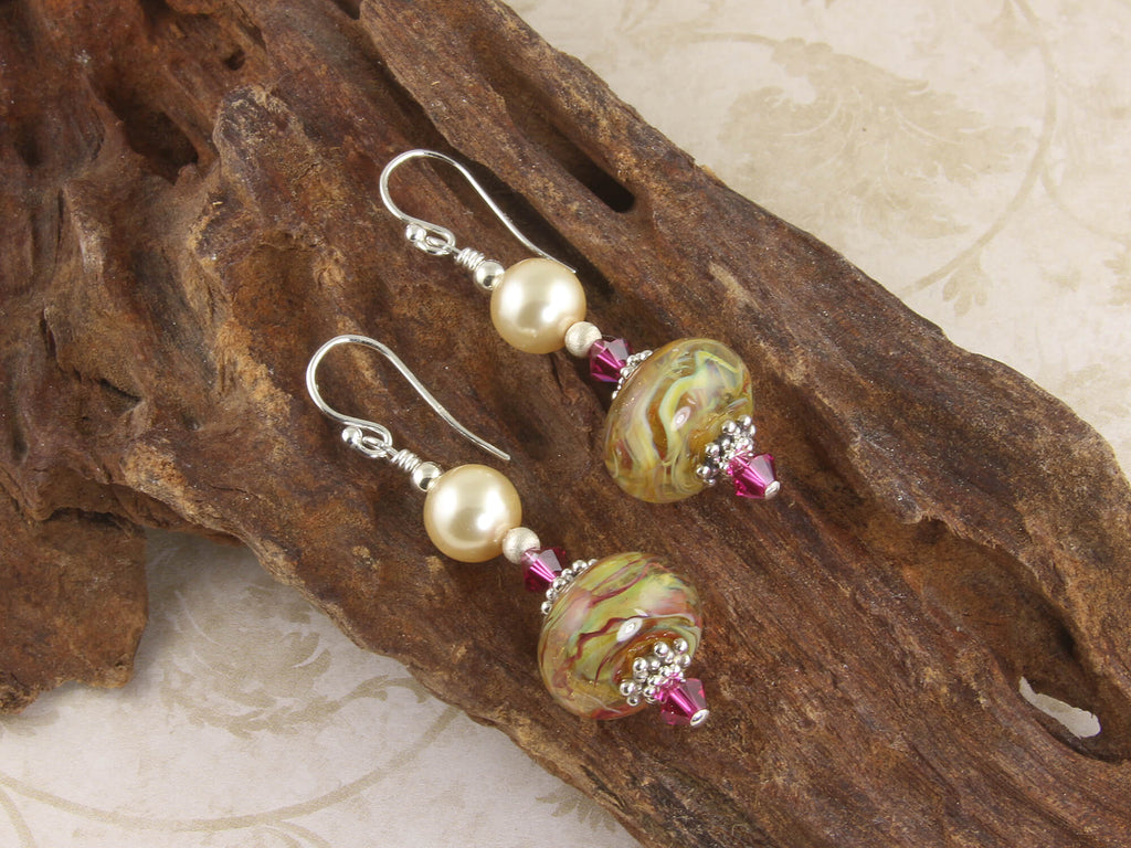 Golden Ruby Swirls Lampwork Earrings
