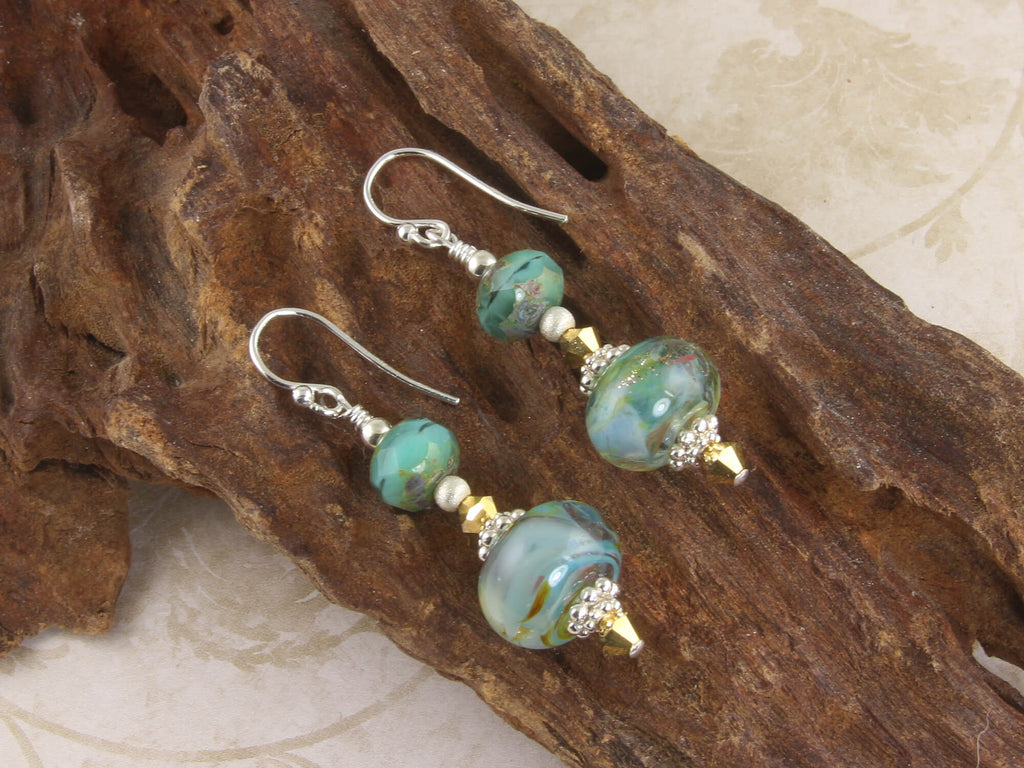Aqua Gold Swirls Lampwork Earrings