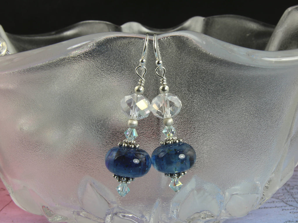 Midnight Blue Swirls Lampwork Earrings