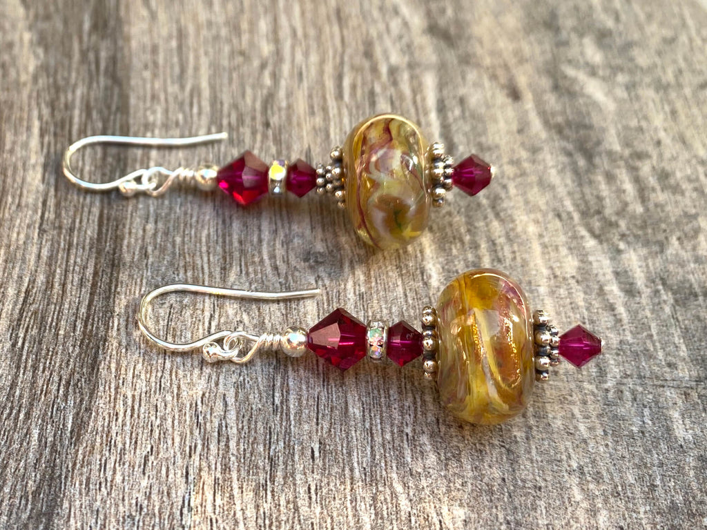 Ruby Golden Swirls Lampwork Earrings