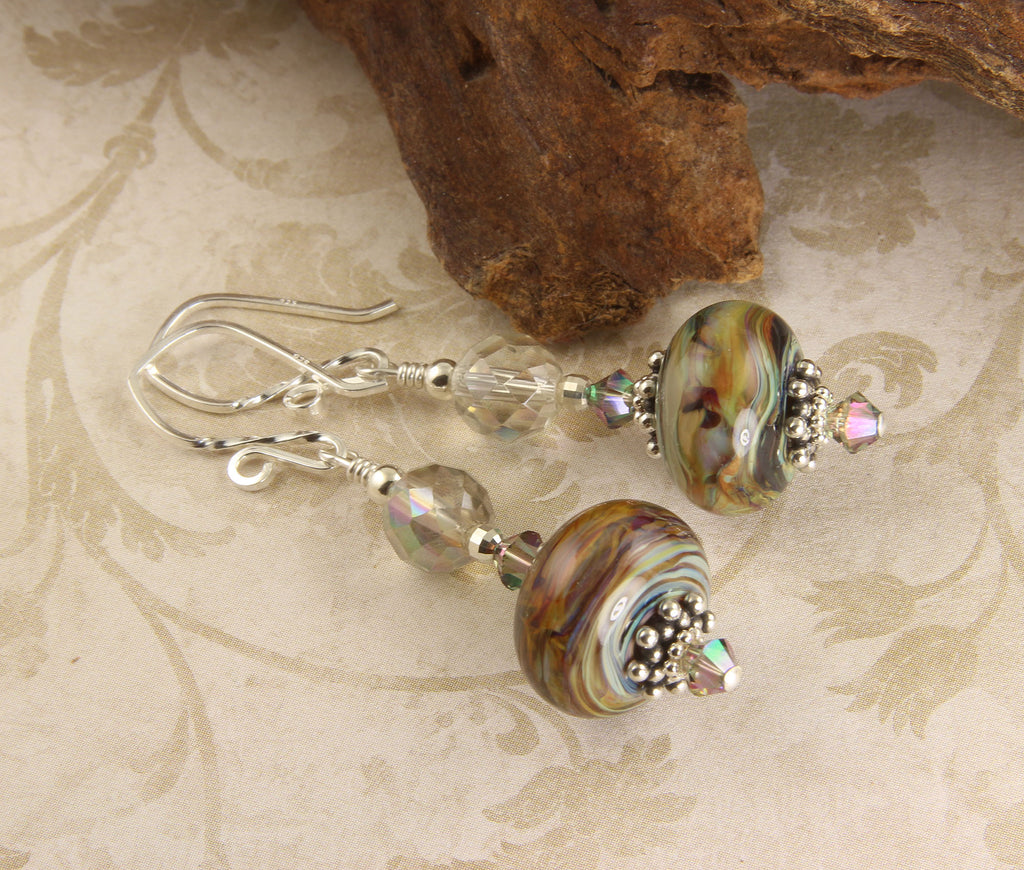Colorful Topaz Swirls Lampwork Earrings