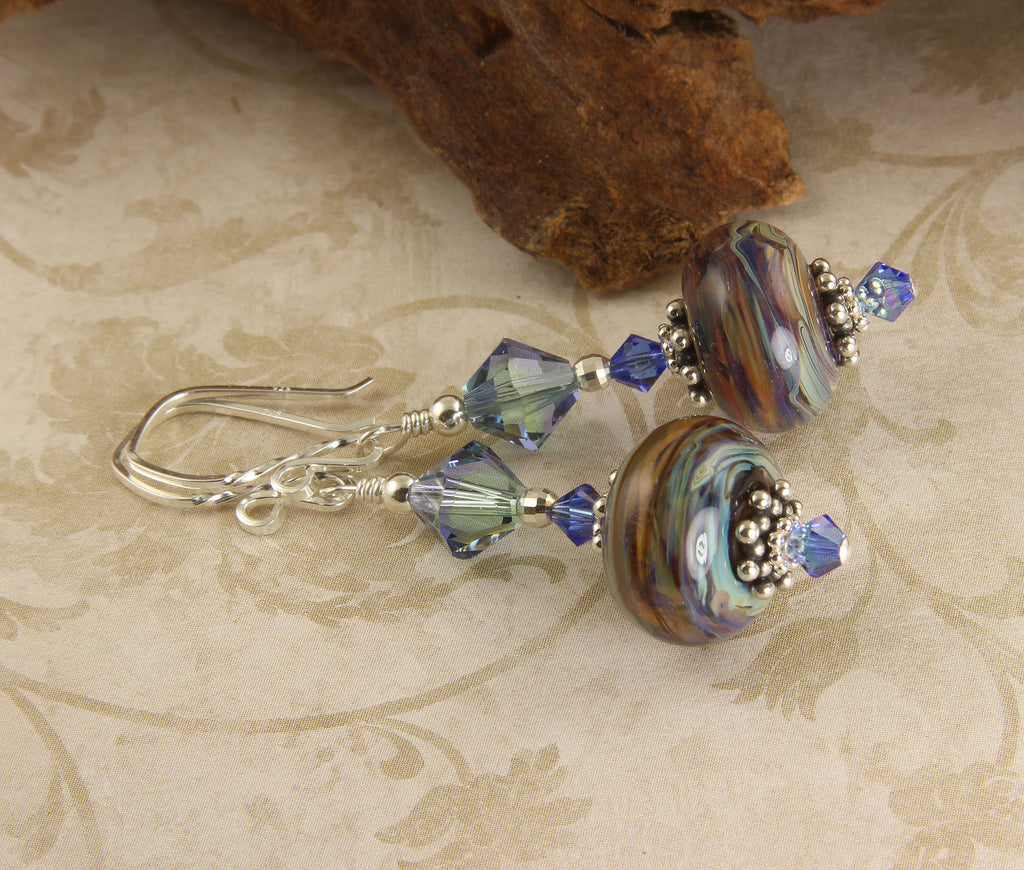 Colorful Blue Swirls Lampwork Earrings