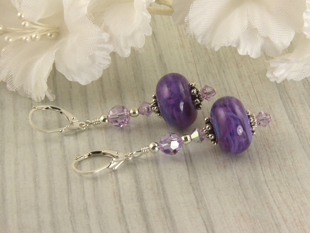 Cosmo Violet Lampwork Bead Earrings