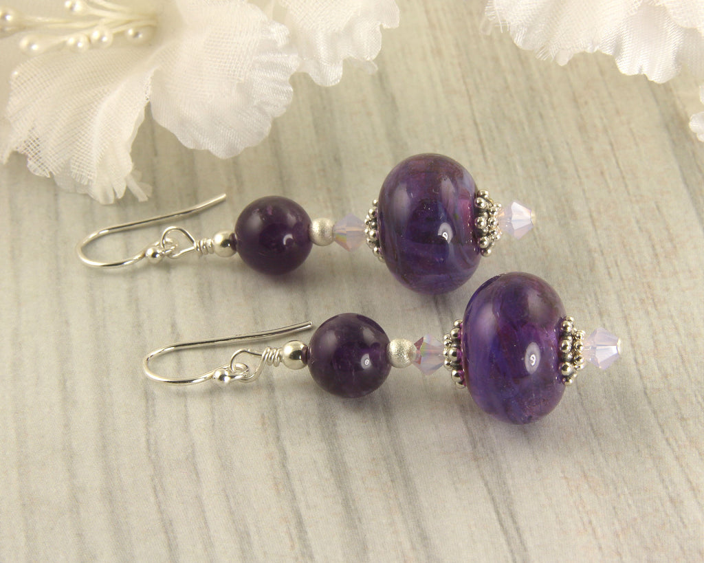 Purple Violet Lampwork Bead Earrings