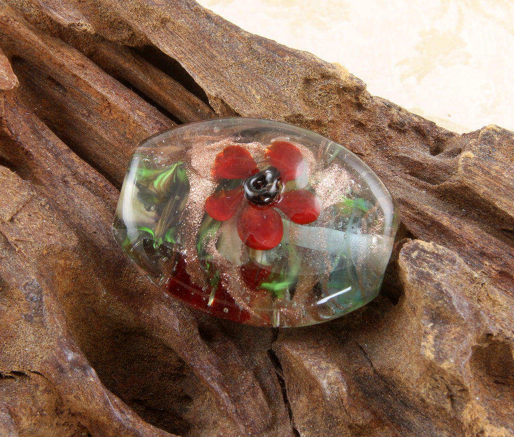 Red Floral Lampwork Focal Bead SRA