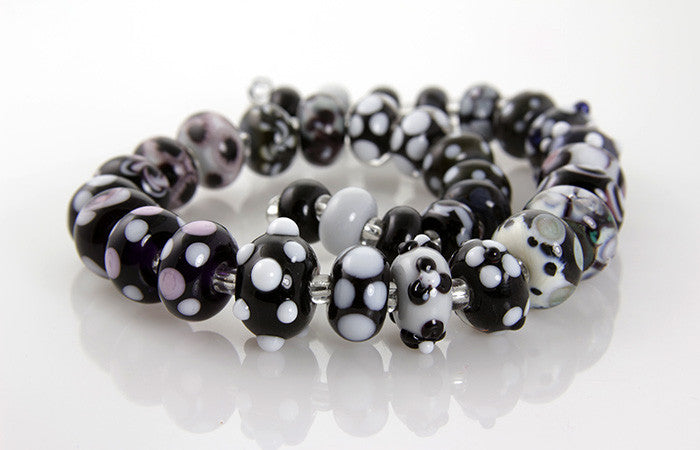 Noir Black White Lampwork Beads SRA - SWCreations  - 1