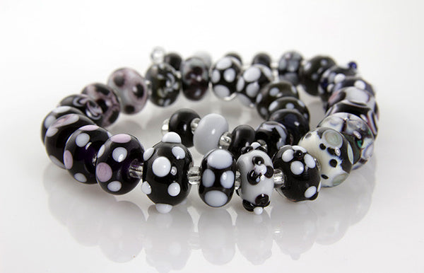 Noir Black White Lampwork Beads SRA - SWCreations