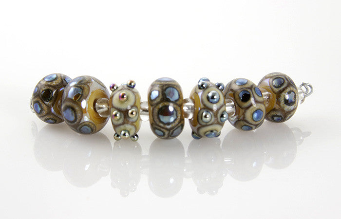 Ivory Silver Lampwork Bead Set SRA - SWCreations