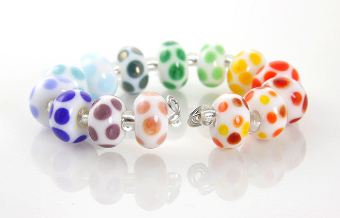 Rainbow Dots Lampwork Beads SRA - SWCreations  - 3