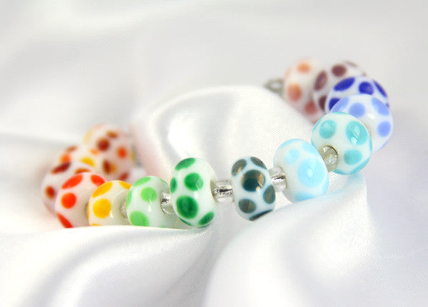 Rainbow Dots Lampwork Beads SRA - SWCreations  - 2