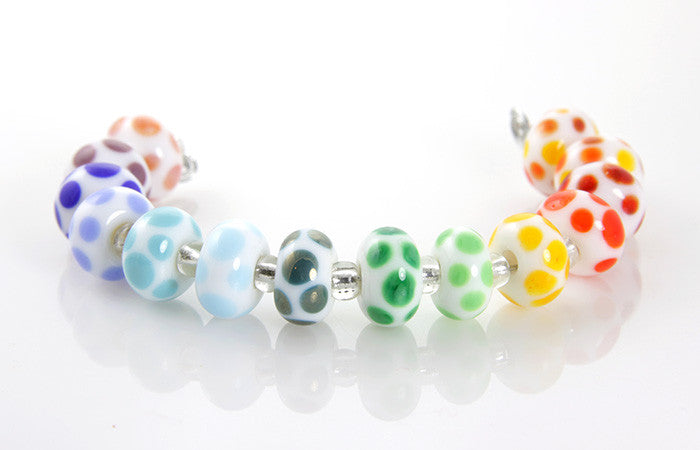 Rainbow Dots Lampwork Beads SRA - SWCreations  - 1