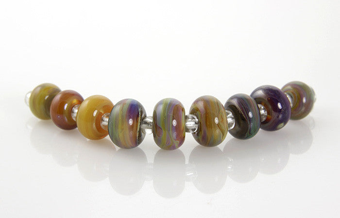 Colorful Striations Lampwork Glass Beads SRA - SWCreations
