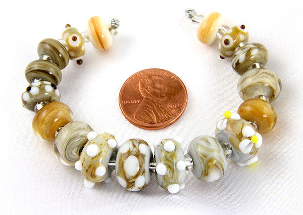 Tawny Brown Lampwork Bead Set - SWCreations  - 2
