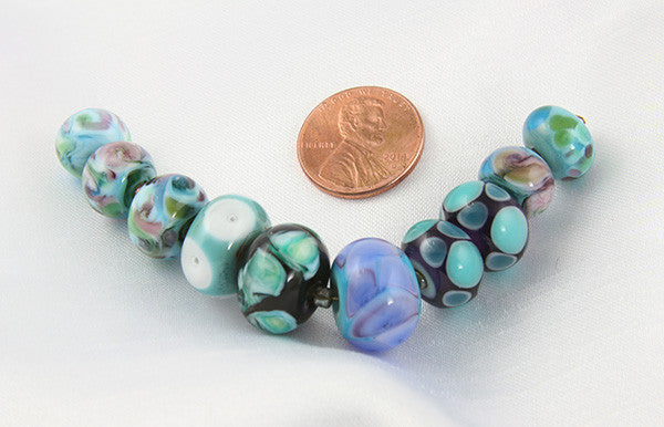 Teal Lampwork Glass Beads SRA - SWCreations  - 2