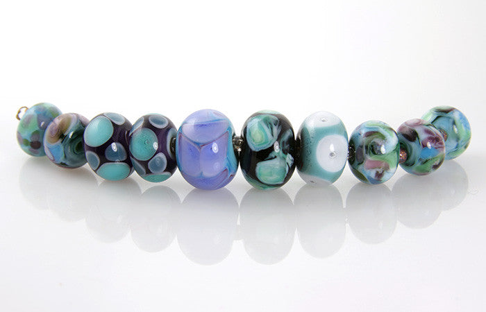 Teal Lampwork Glass Beads SRA - SWCreations  - 1