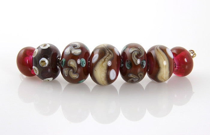 Cranberry Ivory Lampwork Beads SRA - SWCreations