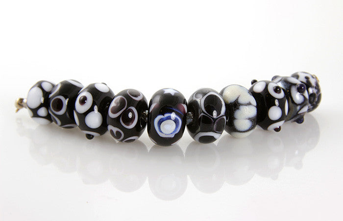 Black Cosmic Lampwork Glass Beads SRA - SWCreations
