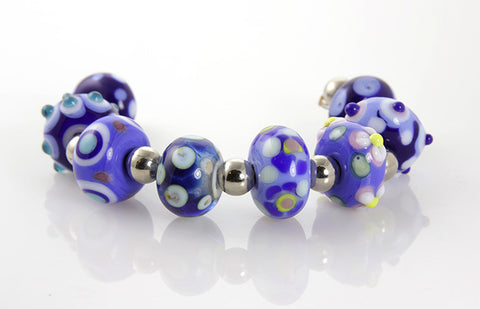 Blue Blend Lampwork Glass Beads SRA - SWCreations