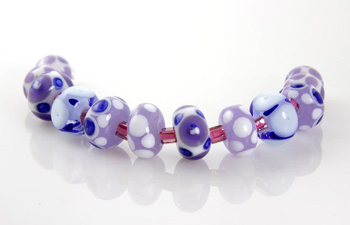 Lavender Blue Lampwork Glass Beads Sra Swcreations