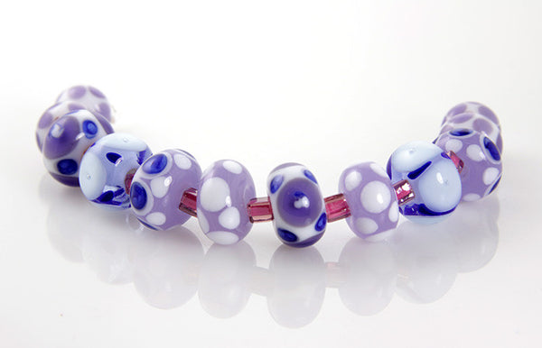 Lavender Blue Lampwork Glass Beads SRA - SWCreations