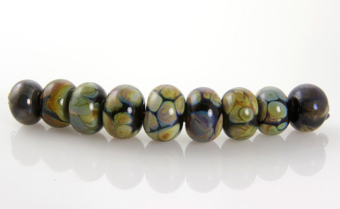 Lustrous Black Lampwork Glass Beads SRA - SWCreations
