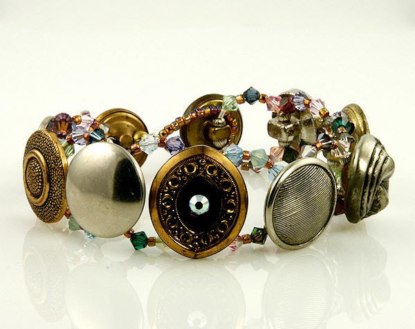 Crystal Medley Vintage Button Beaded Bracelets - SWCreations