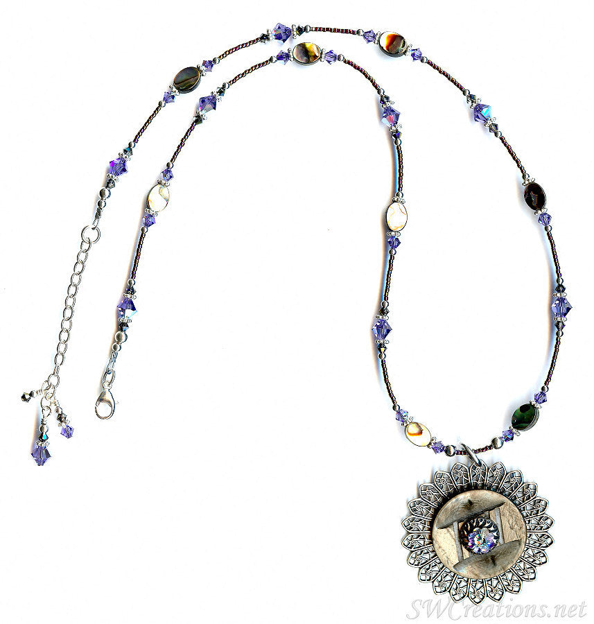 Regal Tanzanite Abalone Shell Vintage Button Necklace - SWCreations