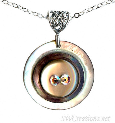 Topaz Crystal Shell Vintage Button Pendant - SWCreations